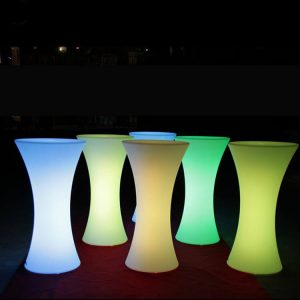 Table bistro à louer avec Lumière LED avec remote multi-couleurs pour table bistro à louer avec table bistro